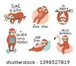 cute sloths with quotes. funny... | Shutterstock .eps vector #1398527819