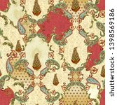 seamless mughal floral with... | Shutterstock . vector #1398569186