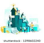 goal achievement and teamwork... | Shutterstock .eps vector #1398602240