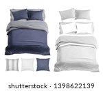 set of bedding items mockup....   Shutterstock . vector #1398622139