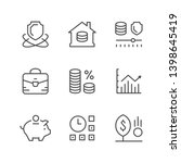 set line icons of investment... | Shutterstock . vector #1398645419