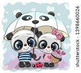 two cute cartoon pandas with... | Shutterstock .eps vector #1398660026