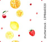 pattern of fruit painted with... | Shutterstock . vector #1398660320