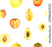 pattern of fruit painted with... | Shutterstock . vector #1398660323