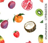 pattern of fruit painted with... | Shutterstock . vector #1398660326