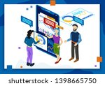 3d isometric people technology... | Shutterstock .eps vector #1398665750
