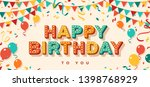 happy birthday greeting card... | Shutterstock .eps vector #1398768929