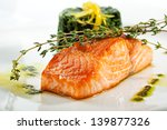 Baked Salmon Steak With Spinac...