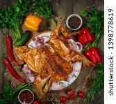 spatchcocked barbecue chicken... | Shutterstock . vector #1398778619