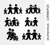 family silhouette over gray... | Shutterstock .eps vector #139880920