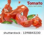 tomato juice splash. tomatoes... | Shutterstock .eps vector #1398843230