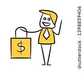 businessman holding shopping... | Shutterstock .eps vector #1398859406