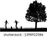 children silhouette in nature . | Shutterstock . vector #1398922586