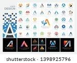 letter a logo set with simple ... | Shutterstock .eps vector #1398925796