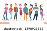 group of charismatic smiling... | Shutterstock .eps vector #1398929366