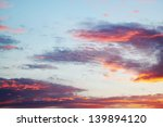 Evening sunset in pink and lilac tones - stock photo