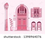 scene with vintage french... | Shutterstock .eps vector #1398964076