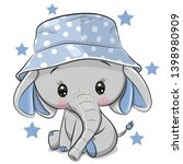 Cute Cartoon Elephant In Panam...
