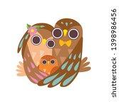happy family of owls hugging... | Shutterstock .eps vector #1398986456