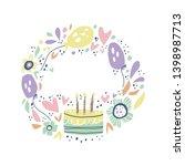 birthday hand drawn frame for... | Shutterstock .eps vector #1398987713