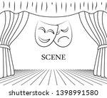 theater scene with masks vector ... | Shutterstock .eps vector #1398991580