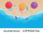 beach top view in paper style... | Shutterstock .eps vector #1399000766