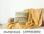 Cozy Sofa With Pillow And Plaid ...
