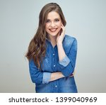 smiling woman dressed in blue... | Shutterstock . vector #1399040969