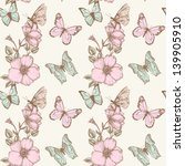 butterfly and flower vintage... | Shutterstock .eps vector #139905910