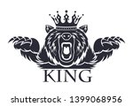 angry bear with a crown on his... | Shutterstock . vector #1399068956