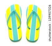 Summer Flip Flops On A White...