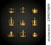 crown icon set heraldic symbol  ... | Shutterstock . vector #1399074809