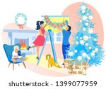 happy family decorating room on ... | Shutterstock .eps vector #1399077959