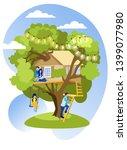 happy family spending time... | Shutterstock .eps vector #1399077980