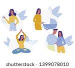 young woman pregnancy set... | Shutterstock .eps vector #1399078010