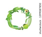 wreath of leaves  fruit and... | Shutterstock .eps vector #1399087850