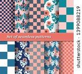 set of trendy seamless floral... | Shutterstock .eps vector #1399088219