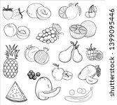 set of icons drawn fruit.... | Shutterstock .eps vector #1399095446