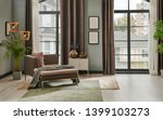 Grey Living Room With Window...