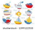 cute ship  submarine  sailboat  ... | Shutterstock .eps vector #1399122533