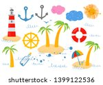 set of marine elements ... | Shutterstock .eps vector #1399122536