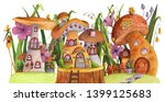 Street Of Mushroom Houses With...