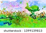 Stock photo watercolor with a running hare on a wild meadow in the nature 1399139813