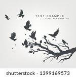 figure set flock of flying... | Shutterstock .eps vector #1399169573