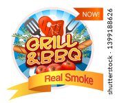 grill and bbq round badge. logo ...   Shutterstock .eps vector #1399188626