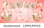 pink gold foil balloons on the... | Shutterstock . vector #1399199423