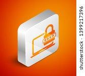 isometric laptop with password... | Shutterstock .eps vector #1399217396