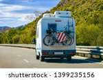 rv cavaran with bicycles on the ...