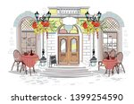 series of backgrounds decorated ... | Shutterstock .eps vector #1399254590