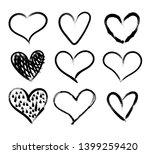 vector doodle hand drawn hearts ... | Shutterstock .eps vector #1399259420